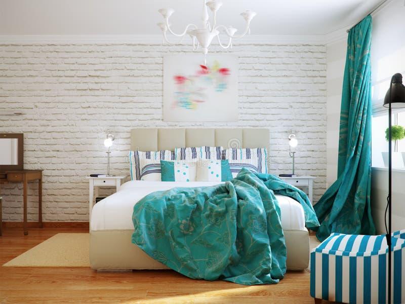 Ljus och hemtrevlig modern sovruminredesign med vita väggar, royaltyfri bild