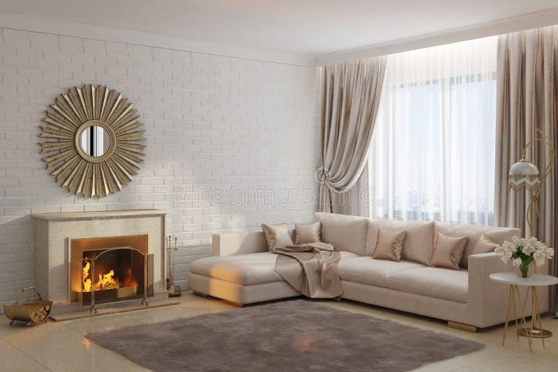 Ljus och hemtrevlig vardagsrum med spisen och spegeln royaltyfri illustrationer