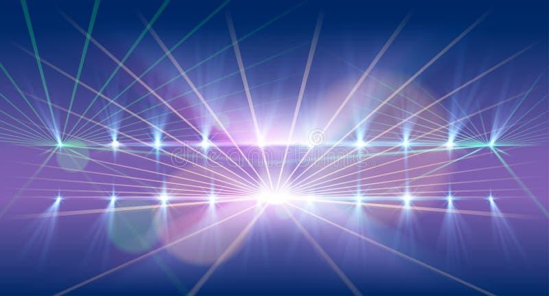 Ljus- och laser-showbakgrund royaltyfri illustrationer