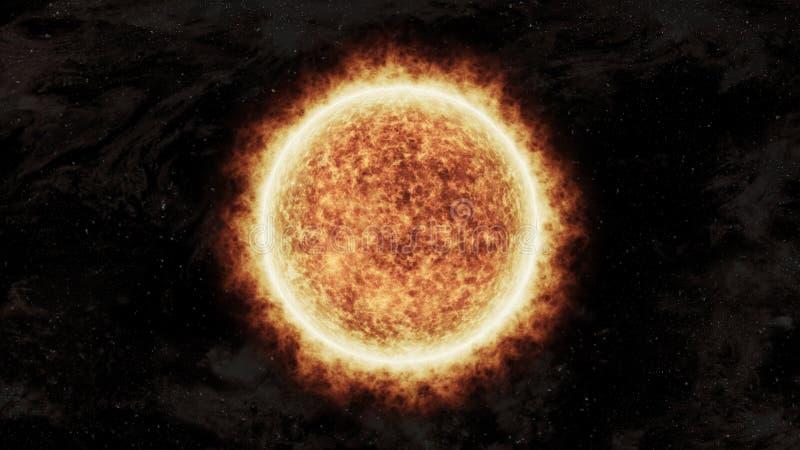 Ljus och varm orange sol i utrymme vektor illustrationer