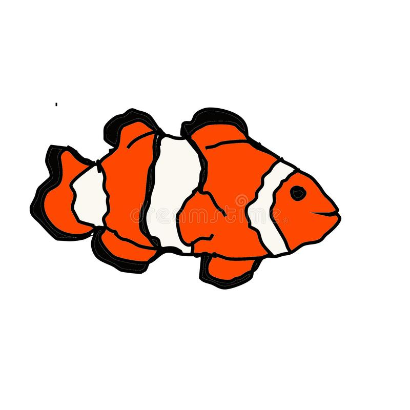 Ljus orange Clownfish konst royaltyfri illustrationer