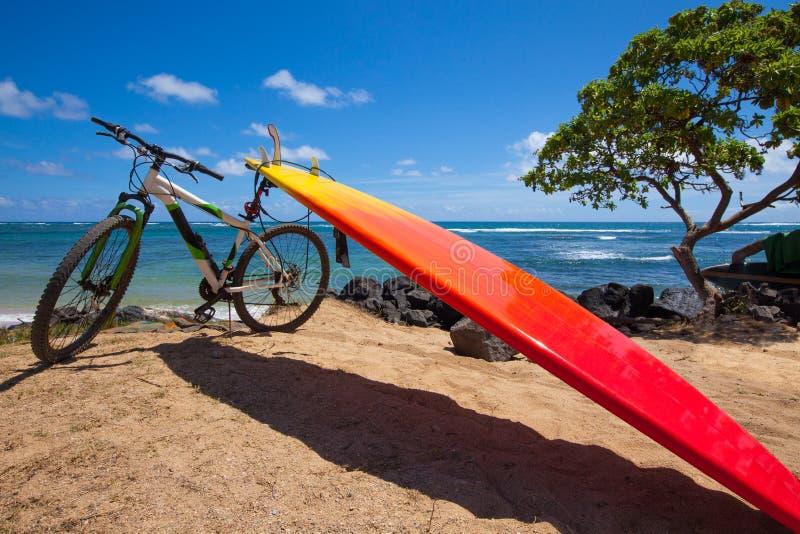 Ljus orange surfingbräda och mountainbike på strand arkivbild