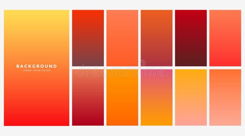 Ljus orange uppsättning för höstfärglutningar royaltyfri illustrationer