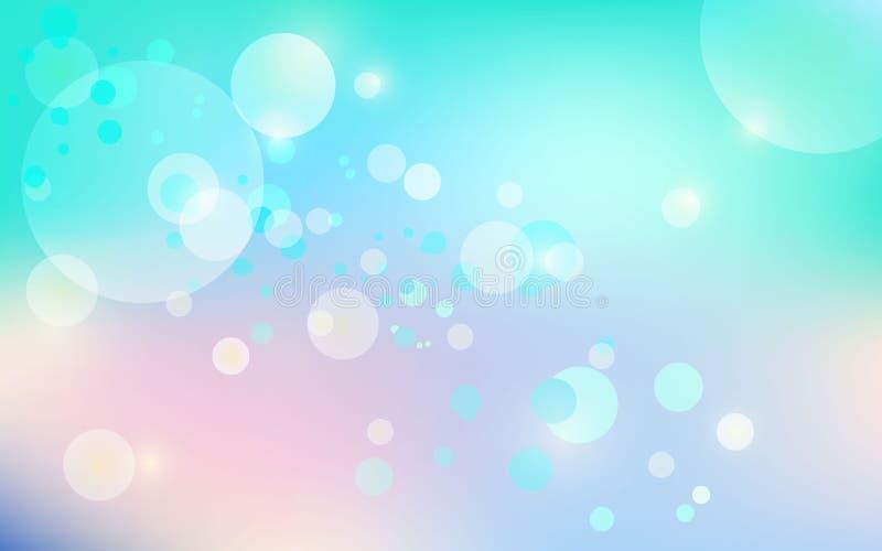 Ljus på blå bakgrundsbokeheffekt Illustration för vektorEPS 10 royaltyfri illustrationer