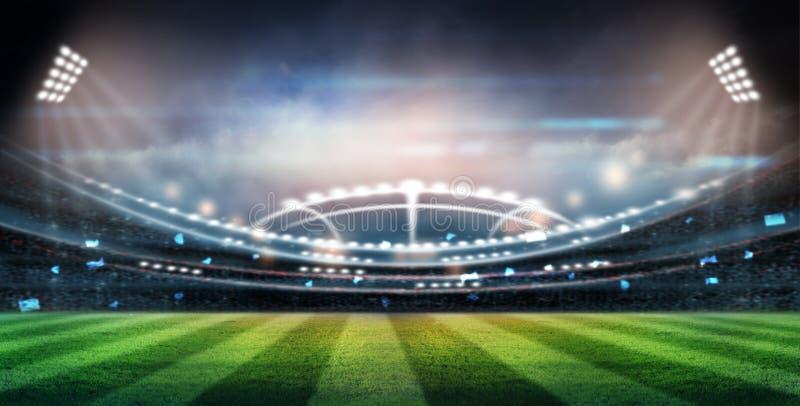 Ljus på natten och stadion 3d framför, royaltyfri illustrationer