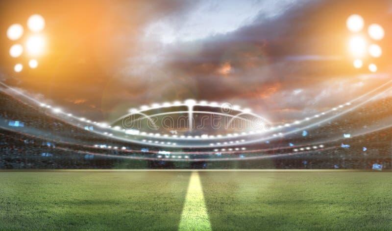 Ljus på natten och stadion 3d framför, vektor illustrationer