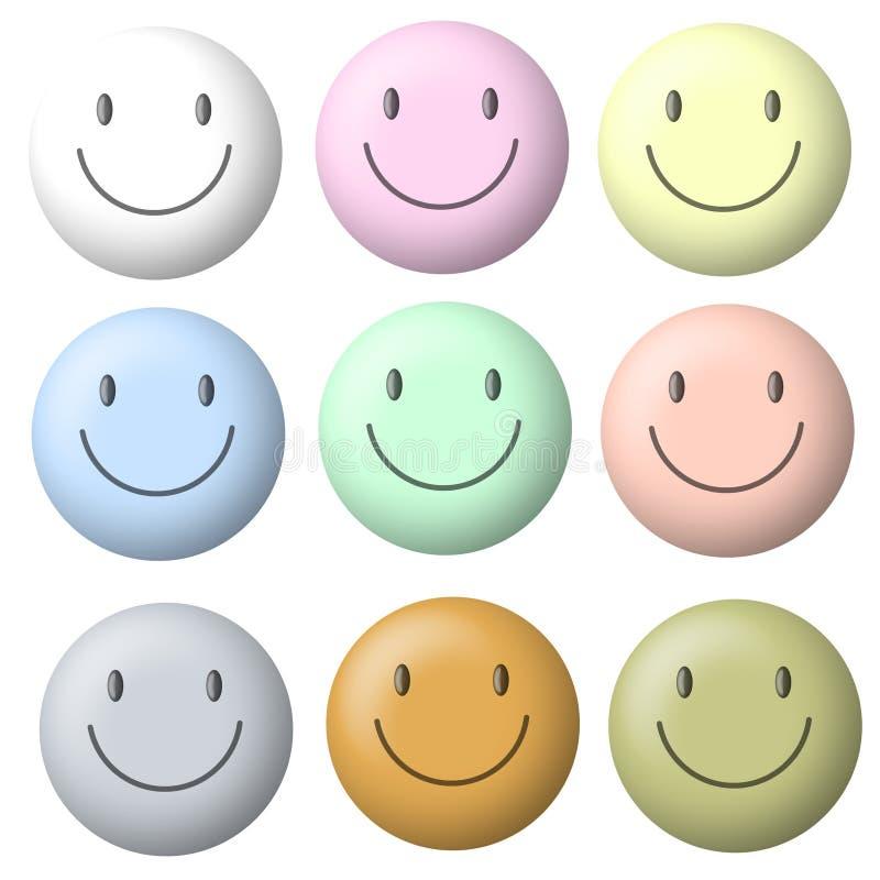 ljus pastellfärgad smiley för framsidor vektor illustrationer