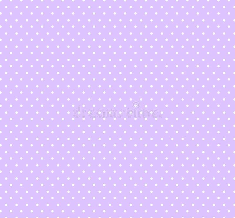 Ljus pastellfärgad violett bakground med den sömlösa cirkelmodellen för vita prickar för ungar, tyger Baby showergarneringbakgrun stock illustrationer