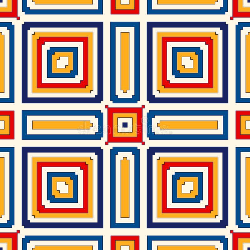Ljus person som tillhör en etnisk minoritetabstrakt begreppbakgrund Sömlös modell med den symmetriska geometriska prydnaden royaltyfri illustrationer