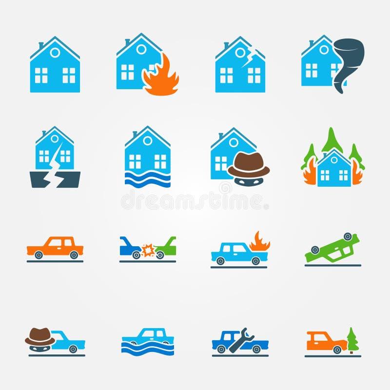 Ljus plan uppsättning för försäkringsymbolsvektor vektor illustrationer