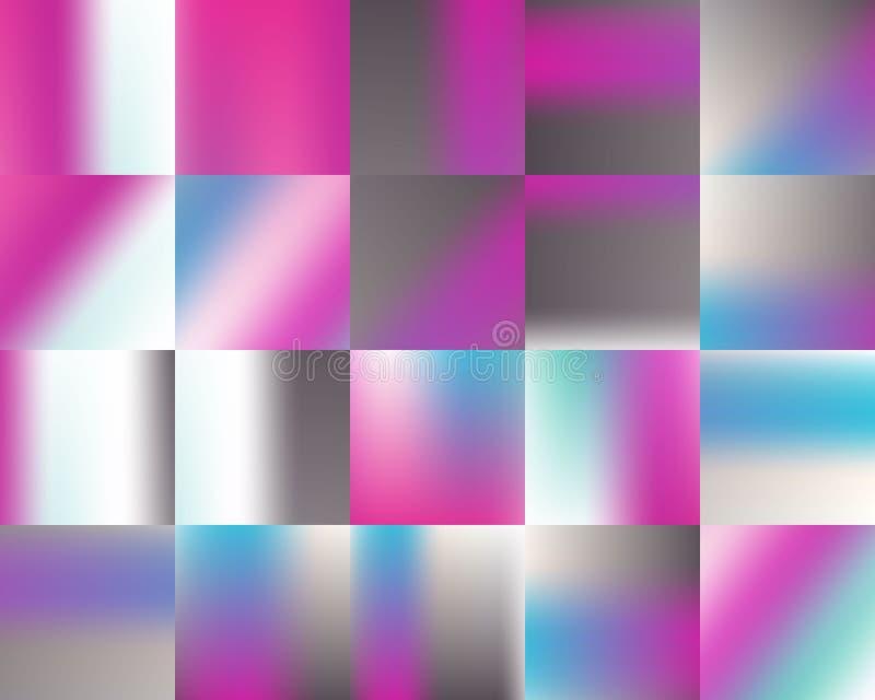 Ljus prickig randig magentafärgad blå uppsättning för bakgrund för lutning för vitgrå färgregnbåge stock illustrationer