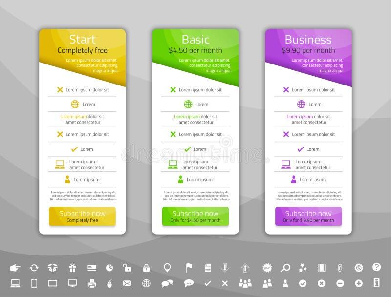 Ljus prissättningtabell med 3 alternativ Fastställd inclu för symbol stock illustrationer