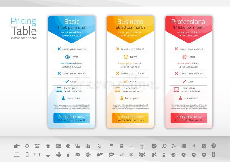 Ljus prissättningtabell med 3 alternativ i blått, guling stock illustrationer