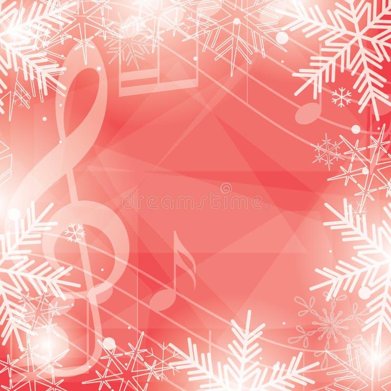 Ljus röd vektorbakgrund med musikanmärkningar och snöflingor royaltyfri illustrationer