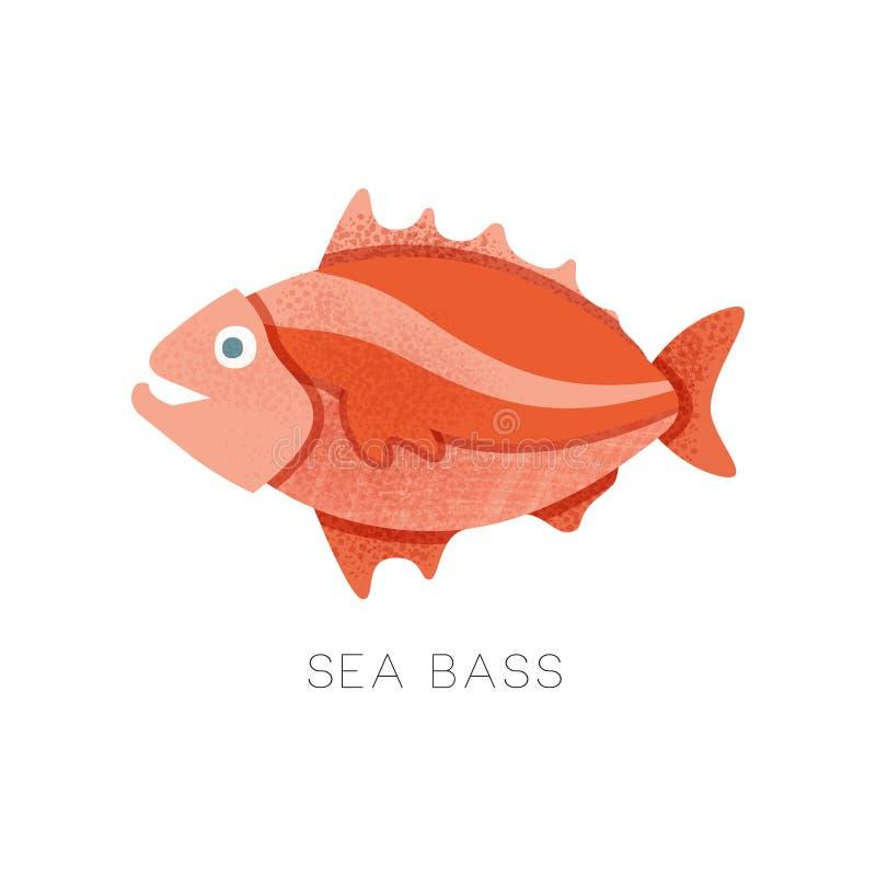 Ljus Röda havetbas, sidosikt Liten marin- fisk bakade grönsaker för tema för lax för pink för closeupkrämfoto havs- Plan vektorsy stock illustrationer