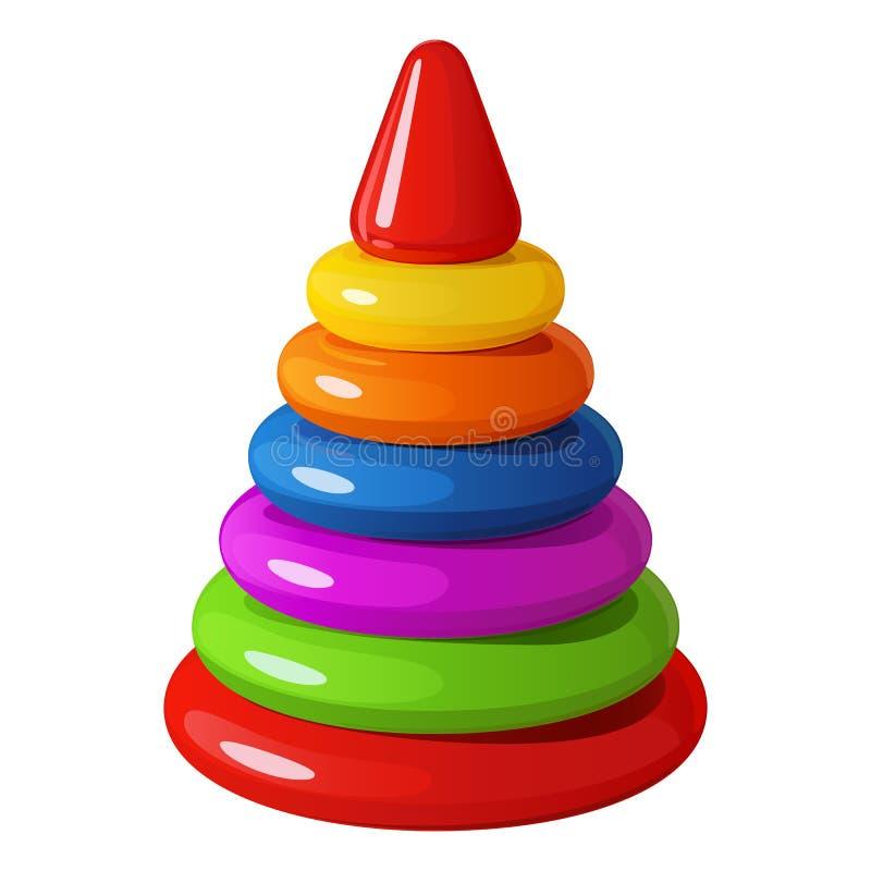 Ljus regnbågsskimrande leksak för barn` s - pyramiden av plast- ringer med den triangulära överkanten vektor illustrationer