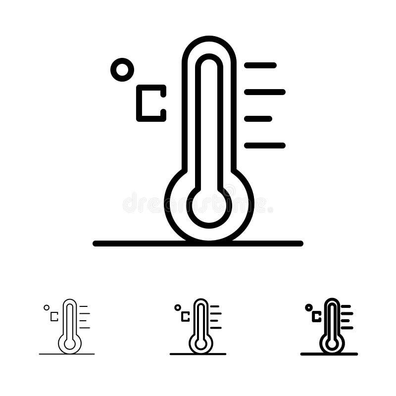 Ljus, regnig, för sol, för temperatur satt en klocka på och tunn svart linje symbolsuppsättning för moln, royaltyfri illustrationer