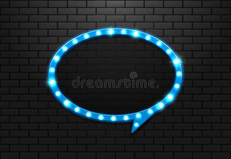 Ljus retro cirkelballong för ram på bakgrundstegelsten vektor illustrationer