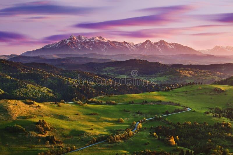Ljus rullande bygd i aftonljuset Pittoresk dag och ursnygg plats i vårtid Carpathian berg, Slovakien royaltyfri foto