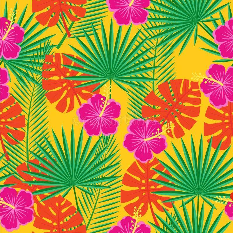 Ljus sömlös bakgrund med tropiska blommor och sidor stock illustrationer