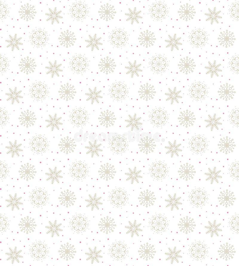 Ljus sömlös guld- modell av många snöflingor på den vita backgrouen royaltyfri illustrationer
