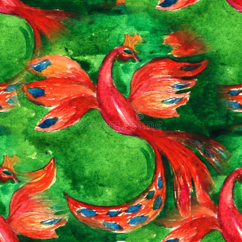 Ljus sömlös hand-dragen vattenfärg för modell Firebird grupper som tecknar spolning för vattenfärg för blomningflodtrees stock illustrationer