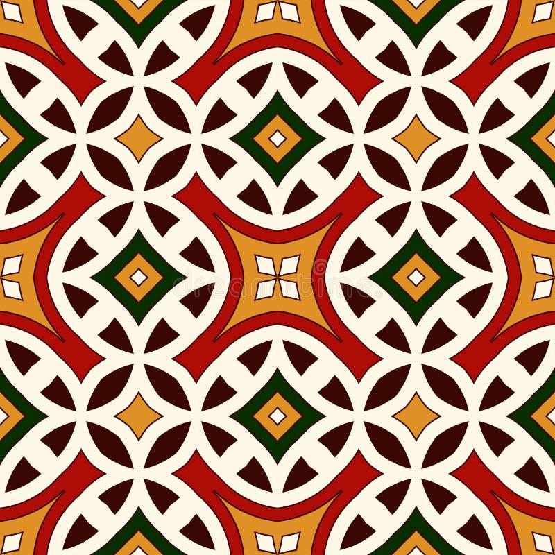 Ljus sömlös modell med den geometriska prydnaden i traditionella färger för jul Etniska och stam- motiv stock illustrationer