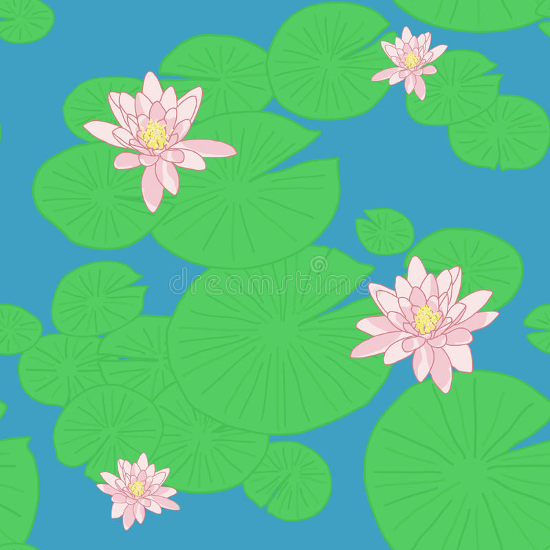 Ljus sömlös modell med gula lotusblommor i dammet vektor illustrationer