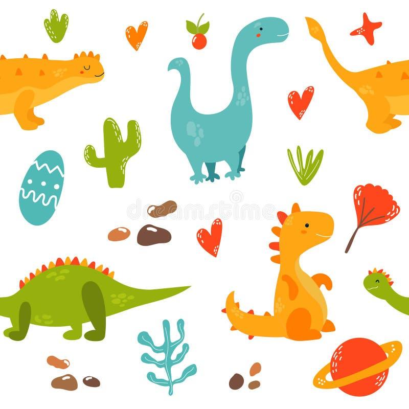 Ljus sömlös modell med gulliga dinosaurier vektor illustrationer