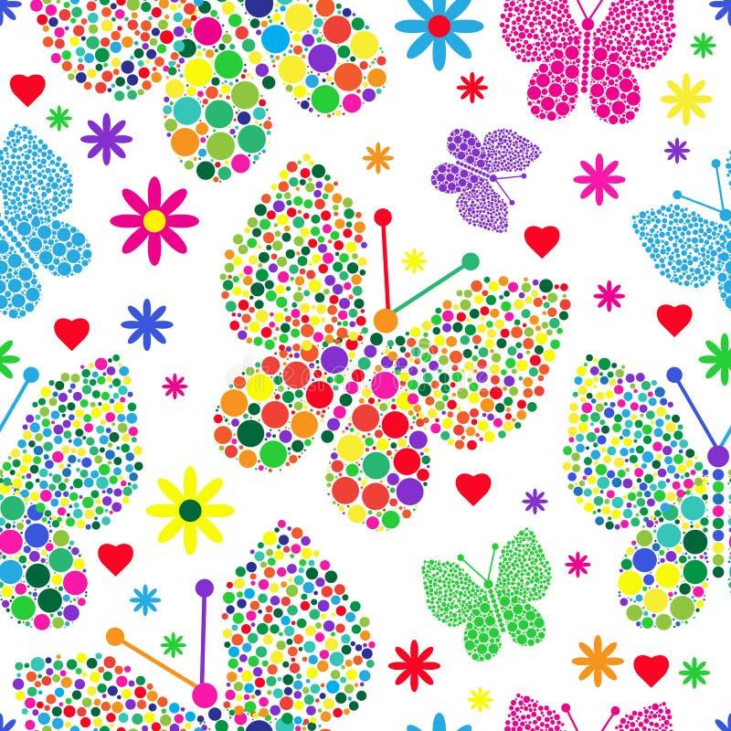 Ljus sömlös valentinmodell av fjärilar i stora och små prickar f vektor illustrationer
