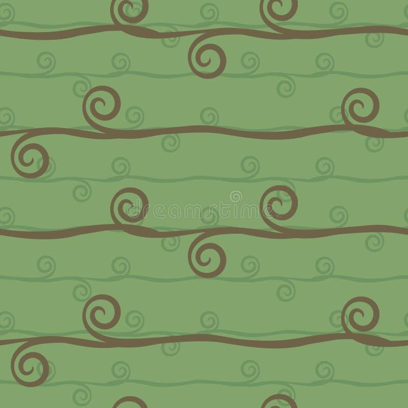 Ljus - sömlös vektormodell för grön färg med den blom- prydnaden för horisontallängsgående för bruntbandfilialer spiral för virvl stock illustrationer