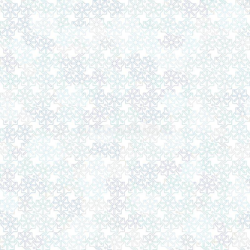 Ljus sömlös vektormodell med blåa snöflingor på vit bakgrund stock illustrationer