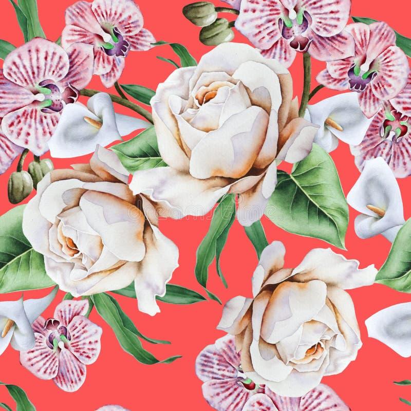 Ljus s?ml?s modell med blommor Steg Orkid? calla f?r flygillustration f?r n?bb dekorativ bild dess paper stycksvalavattenf?rg vektor illustrationer