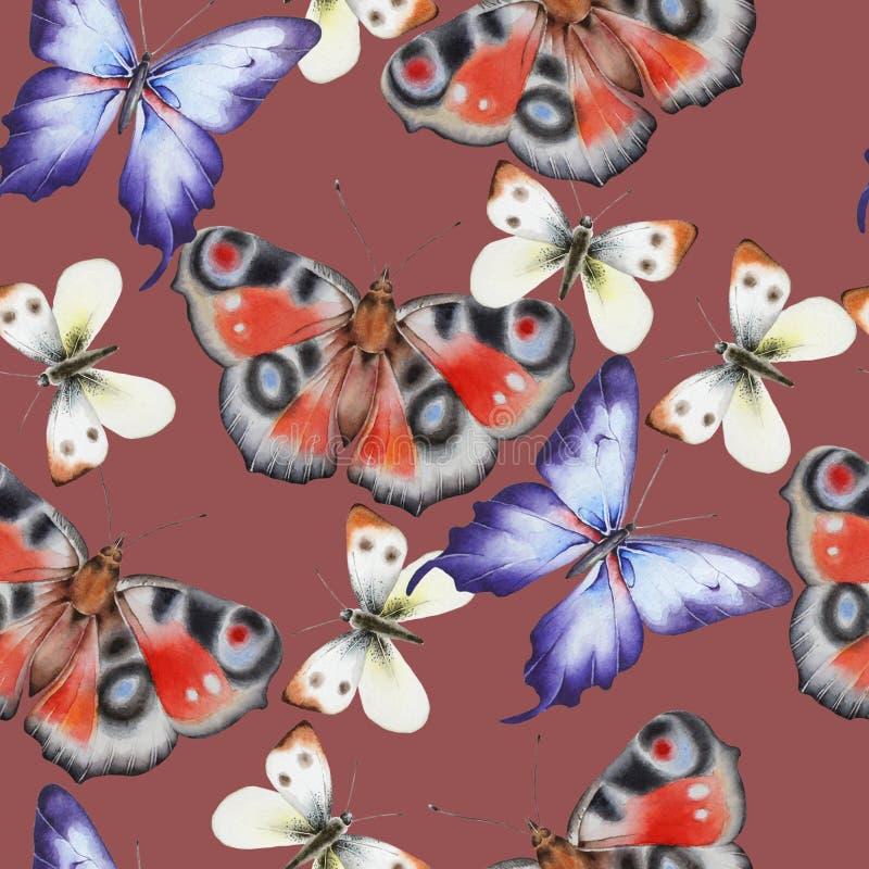 Ljus s?ml?s modell med fj?rilar f?r flygillustration f?r n?bb dekorativ bild dess paper stycksvalavattenf?rg royaltyfri bild