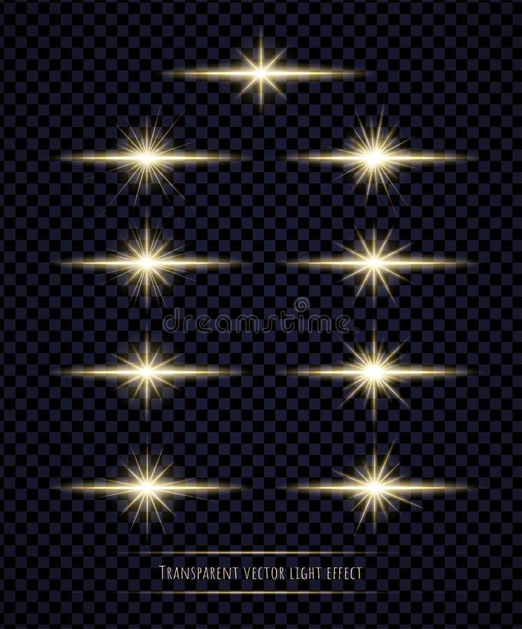 Ljus signalljuseffektsamling som isoleras på genomskinlig bakgrund stock illustrationer