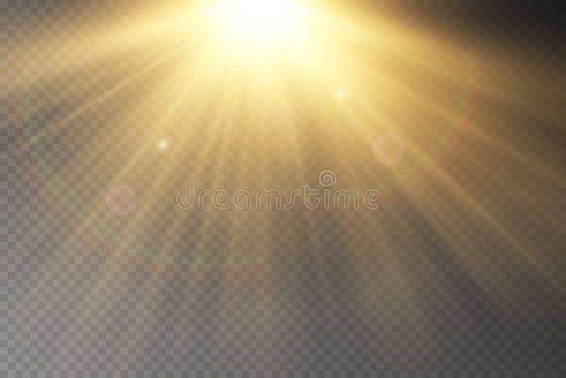 Ljus signalljusspecialeffekt med strålar av ljus vektor illustrationer