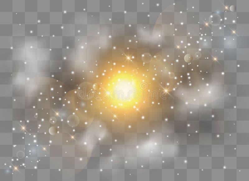 Ljus signalljusspecialeffekt med strålar av ljus och magi mousserar royaltyfri illustrationer