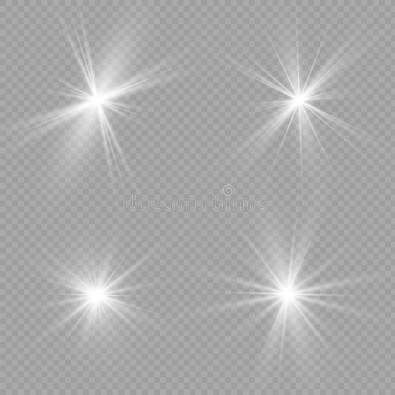 Ljus signalljusspecialeffekt Stjärnabristningsvektorn mousserar på svart bakgrund Ljus signalljusspecialeffekt Julljus är vektor illustrationer