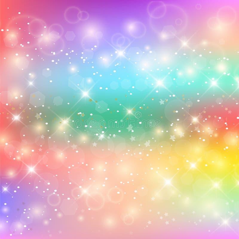 Ljus sjöjungfrumodell i prinsessafärger unicorn royaltyfri illustrationer