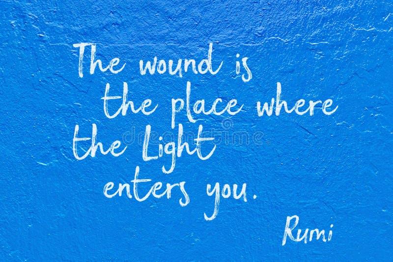 Ljus skriver in blåa Rumi stock illustrationer