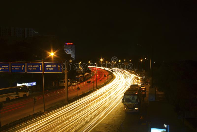 Ljus slinga, prinsessa Necklace, Marine Drive, Mumbai royaltyfri fotografi