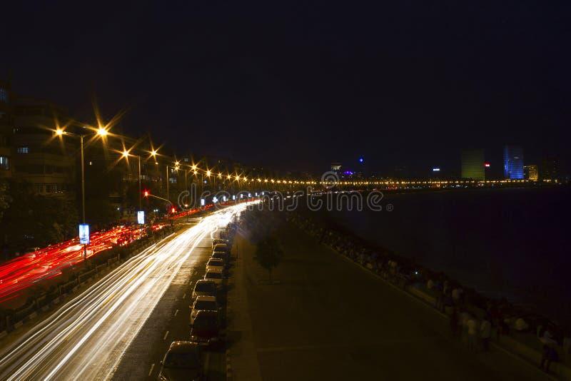 Ljus slinga, prinsessa Necklace, Marine Drive, Mumbai, Maharashtra arkivbilder