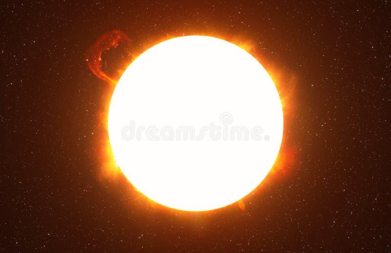 Ljus sol mot mörk stjärnklar himmel i solsystem arkivfoton