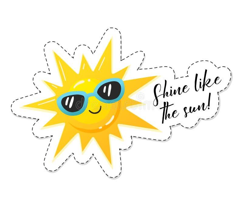 Ljus solklistermärke royaltyfri illustrationer
