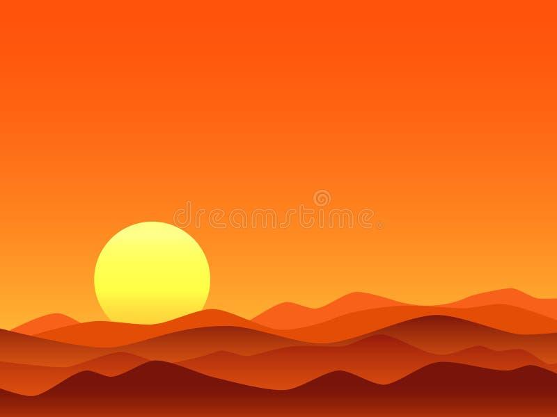 Ljus soluppgång för röd öken royaltyfri illustrationer