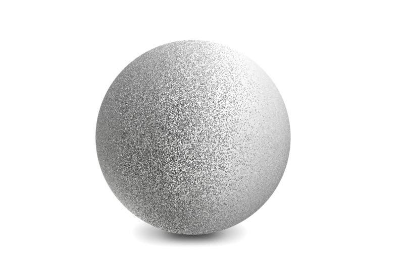 Ljus som är glänsande på silvermetallbollen som isoleras på vit bakgrund royaltyfri fotografi