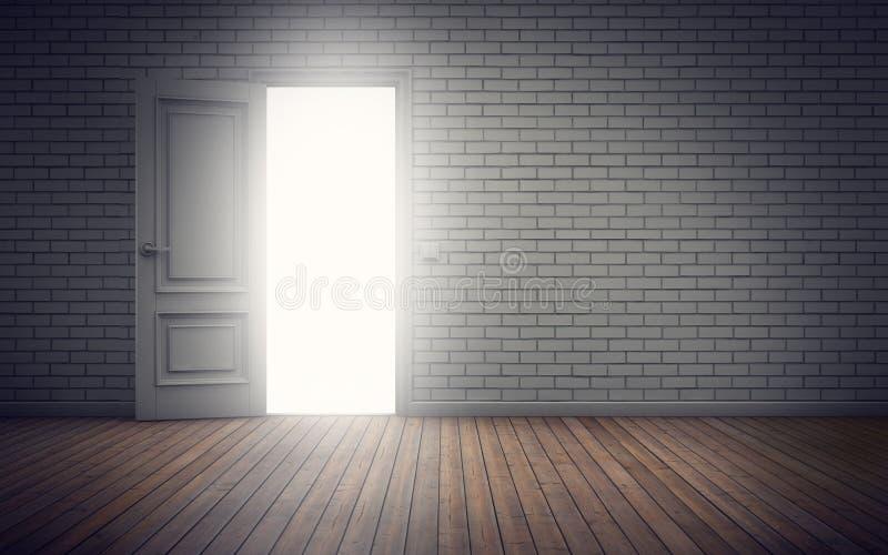 Ljus som kommer till och med dörröppningen framförande 3d stock illustrationer