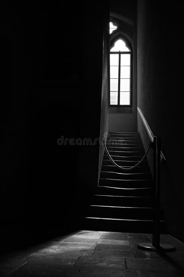 Ljus som kommer till och med ett gotiskt fönster royaltyfri fotografi