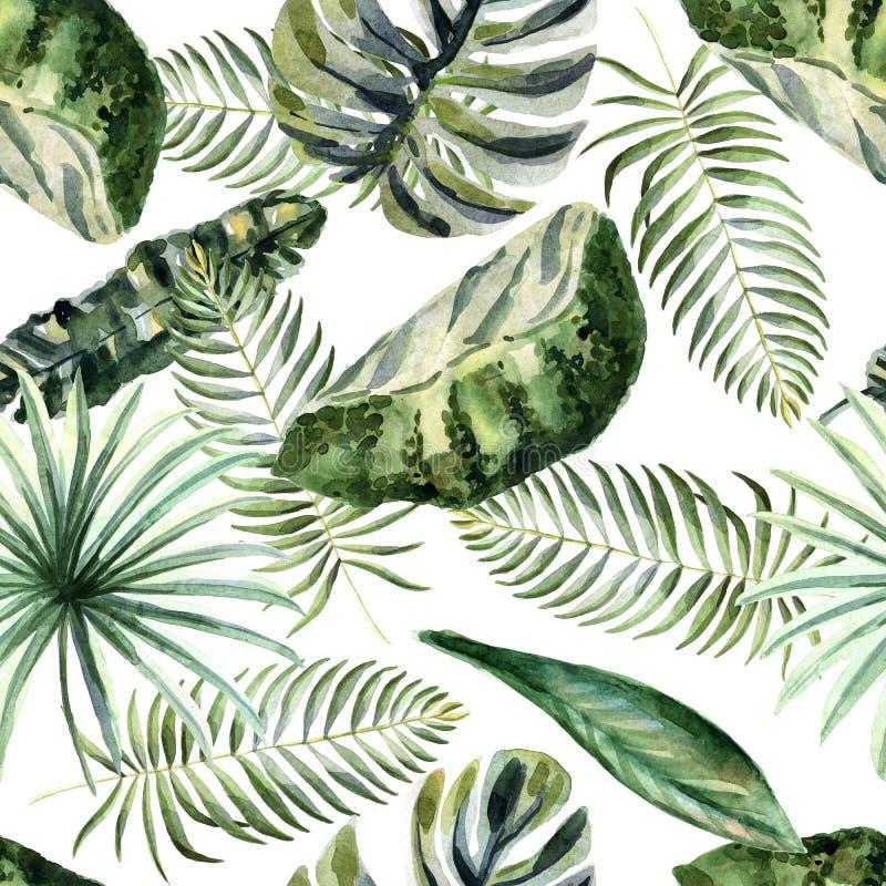 Ljus sommarillustration för vattenfärg med tropiska blommor royaltyfri illustrationer