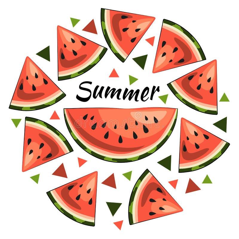 Ljus sommarillustration: saftiga vattenmelonskivor, sommarinskrift, trianglar stock illustrationer